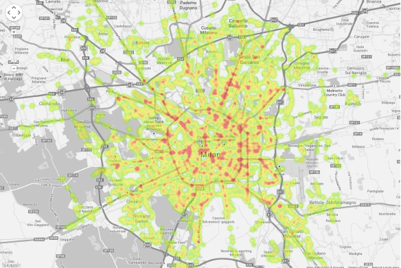 Heatmap generated by plotting Public Transport stops on Milan